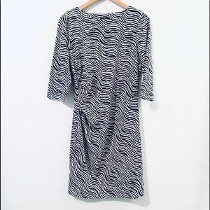 J. McLaughlin Sage Side Ruching Navy Print Dress
